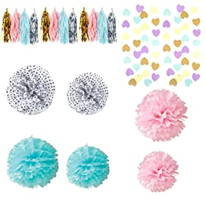 GEARKING Pack of 20 Paper Flowers Tissue Paper Pom Poms Balls Paper Tassel Paper Garland for Wedding Party Birthday Party Baby Shower Decoration Nursery Decorations Bridal Shower