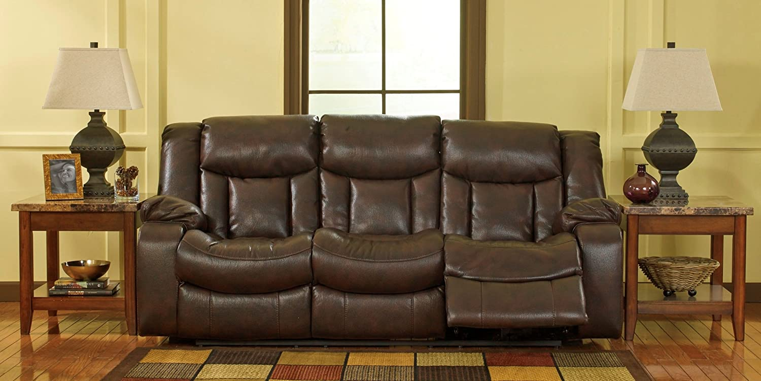 Ashley Carnell Leather Reclining Sofa in Brown