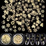 KISSBUTY 2 Boxes Snowflakes Nail Art Sequins Christmas Nail Art Decals 3D Christmas Gold Metal Slices Nail Stickers DIY Snowflakes Nail Decals Manicure