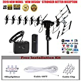 FiveStar Outdoor HD TV Antenna 2019 Newest Model Up to 200 Miles Long Range with Motorized 360 Degree Rotation, UHF/VHF/FM Radio with Infrared Remote Control Advanced Design Plus Installation Kit (Color: Antenna+Kit)