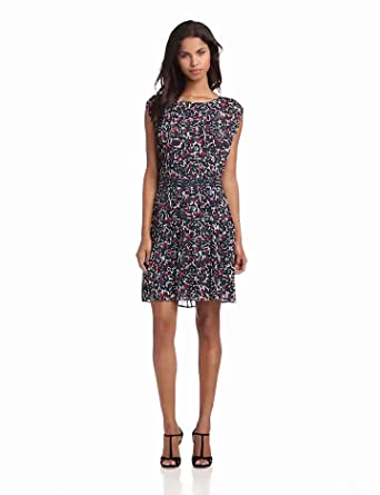 Joie Women's Halsette Leaf Printed Dress, Royal Navy, Small
