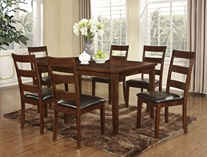 Roundhill Furniture 7 Piece Amery Dining Set, Dark Cherry