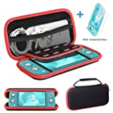 Ztotop for Nintendo Switch Lite Case and Tempered Glass Screen Protector 2019, Portable Travel Carrying Case Slim Protective Hard Shell Storage for Nintendo Switch Lite Games/Accessories, Streak Red (Color: Streak Red, Tamaño: Nintendo Switch Lite 2019)