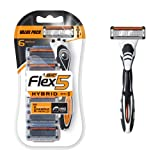 BIC Flex5 Hybrid Men's 5 Blade Disposable Razor, One Handle 6 Refills