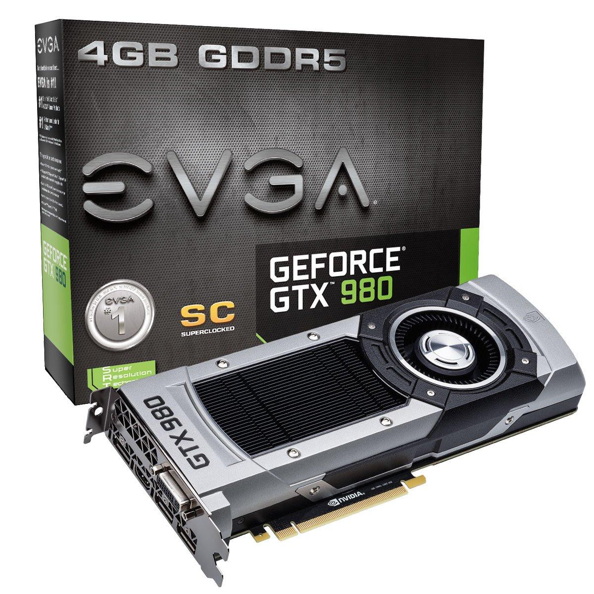 EVGA GTX980 Superclocked 4GB GDDR5 256bit, DVI-I, DP x 3, HDMI, SLI Ready Graphics Card (04G-P4-2982-KR)