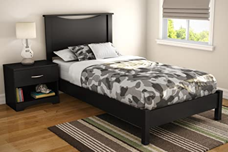 Step One Twin Platform 3 Piece Bedroom Set in Pure Black