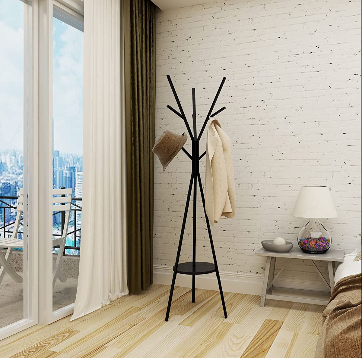 "Home-Like Metal Coat Rack Hat Hanger Holder Hall Tree Hallstand Garment Rack Clothing Rack Tree Stand Suit for Bedroom Office Hallway Entryway (70.87"" H -Black)"