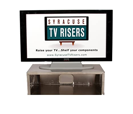 Stainless Steel Large TV Riser with back hole for the new unique futuristic silver flat screen TV's
