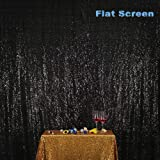 PartyDelight 4ftX7ft Black Sequin Backdrop Curtain Photo Booth for Wedding Party Birthday Decoration. (Color: Black, Tamaño: 4FTx7FT)