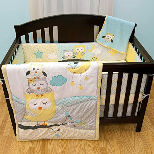 Naptime Owls 6 Piece Baby Crib Bedding Set with Bumper by Babys First