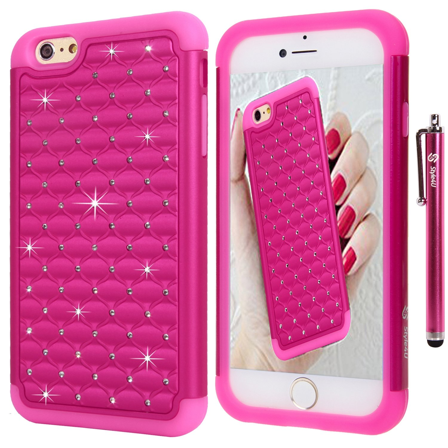 Style4U-Bling-Armor-Apple-iPhone-6-Plus-Case-w-HD-Screen-Protector-amp-Stylus