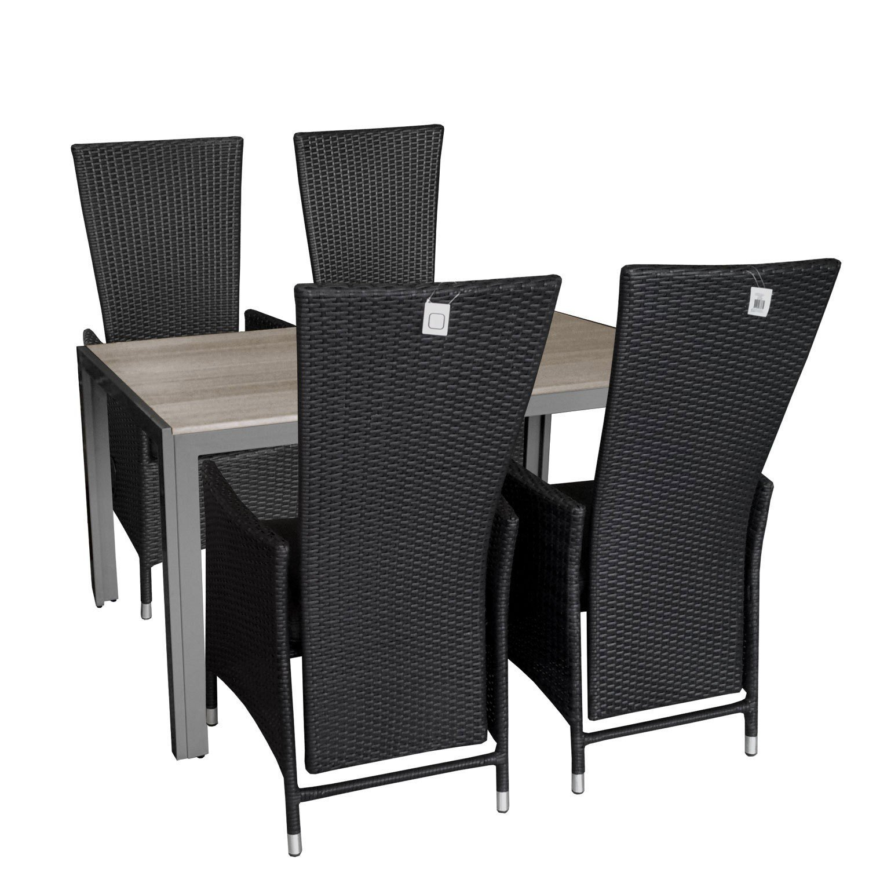 5tlg. Gartengarnitur Aluminium verstellbarer Poly Rattansessel Polywood Gartentisch Sitzgruppe 150x90cm Sitzgarnitur Balkonmöbel Terrassenmöbel Set günstig kaufen