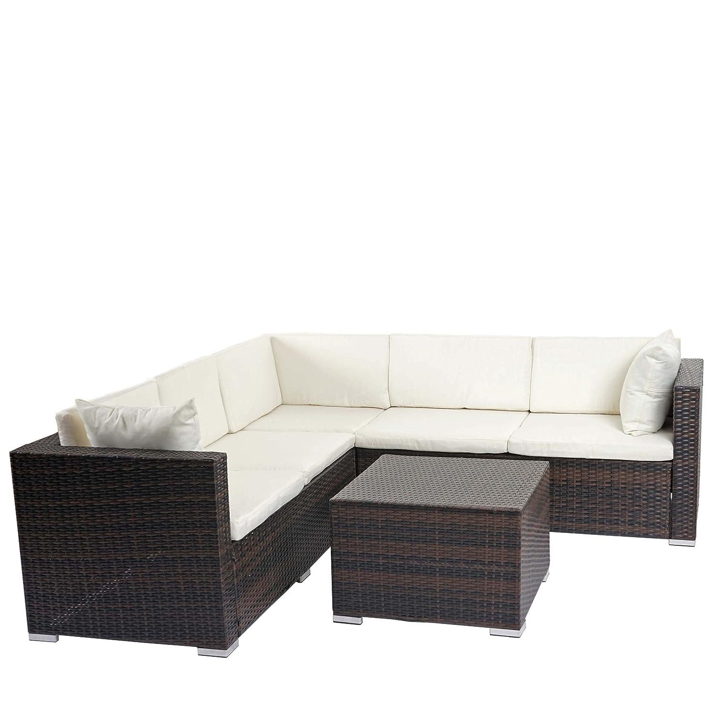 Poly-Rattan Sofa-Garnitur ROM Basic, Sitzgruppe Lounge-Set, Alu ~ braun, Kissen creme günstig bestellen