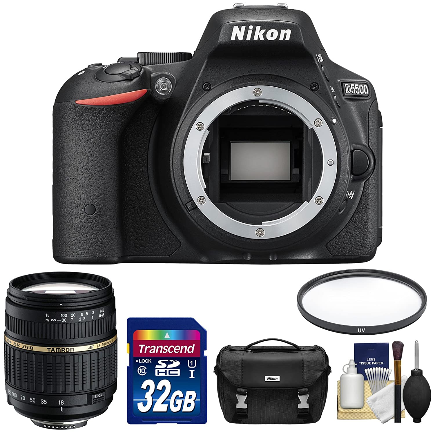 Nikon D5500 DSLR Camera with 18-200mm Lens + 32GB Card + Case Kit (Certified Refurbished)