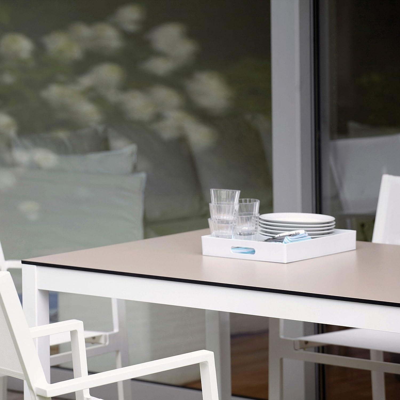 Quadrat Tisch HPL taupe/lavendel – Gestell weiß / 90 x 90 cm, h 76 cm online bestellen