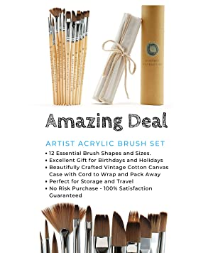 Dynamic Distraction Acrylic Paint Brush Set of 12 Perfect for Acrylic Watercolor and Gouache Comfortable Handle Size Professional Artist Quality