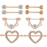 Milacolato 4 Pairs 316L Stainless Steel Nipplerings Tongue Rings Women Girls CZ Crystal Heart-Shape Barbell Piercing Jewelry 14G Rose-Gold