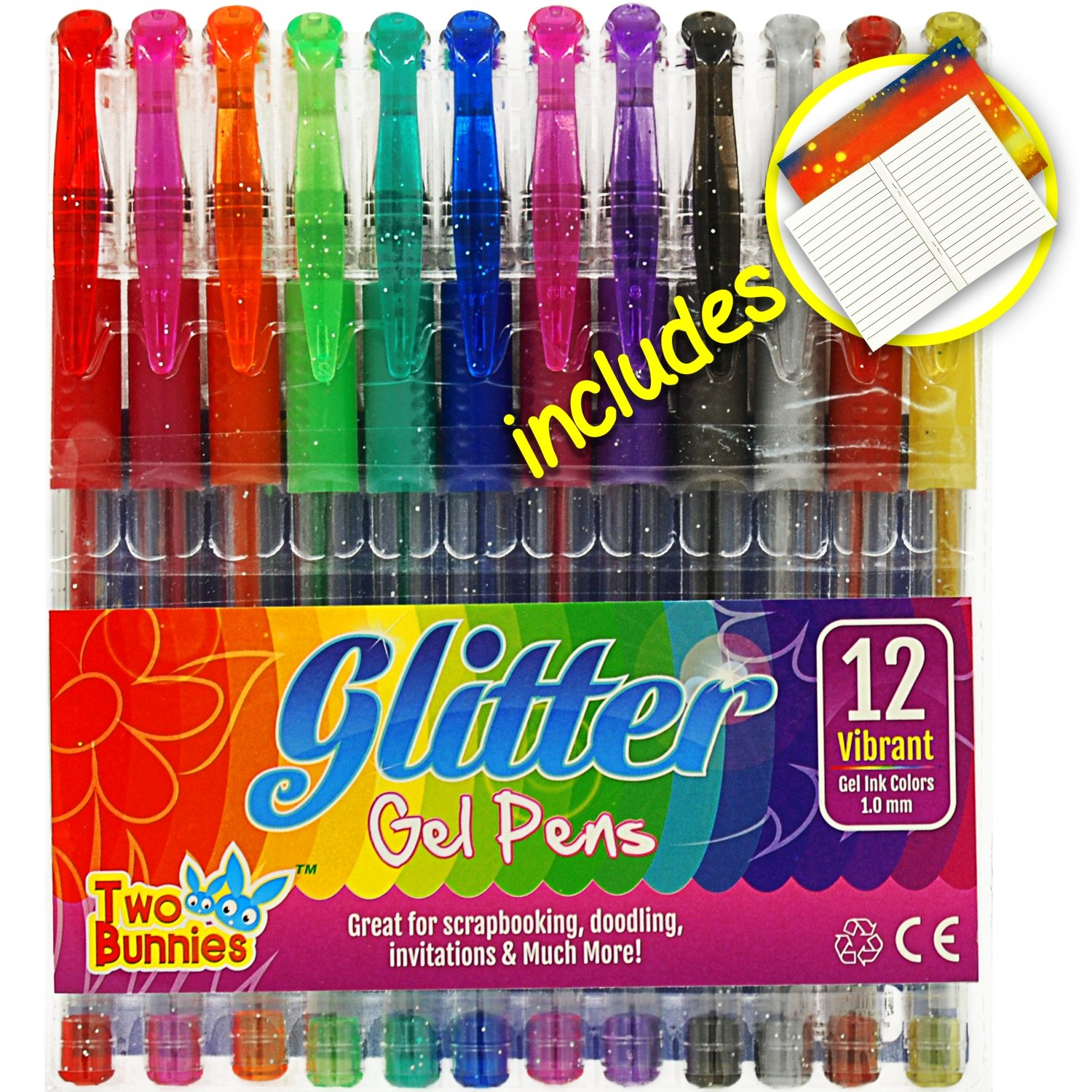 12 Pack - Glitter Gel Pens for Adult Coloring Books, Mandalas, Doodling, Card Making, Incl. Notebook