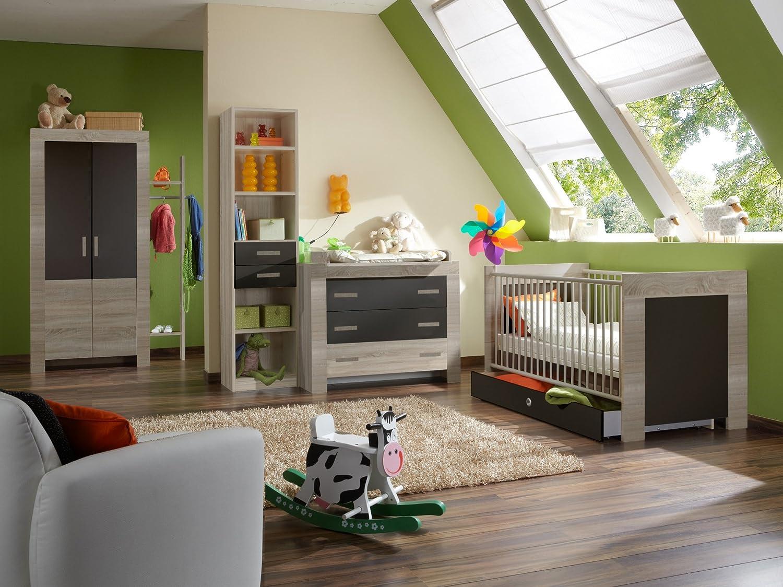 Babyzimmer mit Bett 70 x 140 cm Eiche sägerau/ lavafarbig