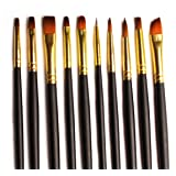 Acrylic Paint Brushes - 10 Set for Art and Craft Supplies w/Case for Acrylic, Watercolour and Oil Painting. Variety of Sizes for Hobby and Professional Artists. Premium Durable Nylon Bristles