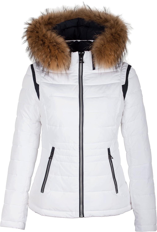"5M89 Damen Winterjacke Skijacke in Daunen-Optik ""TARORE"" mit Echtfellkapuze weiss günstig bestellen"