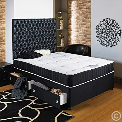 Hf4You 5Ft King Size Black Divan Bed- 4 Drawers - Small Faux Leather H/B