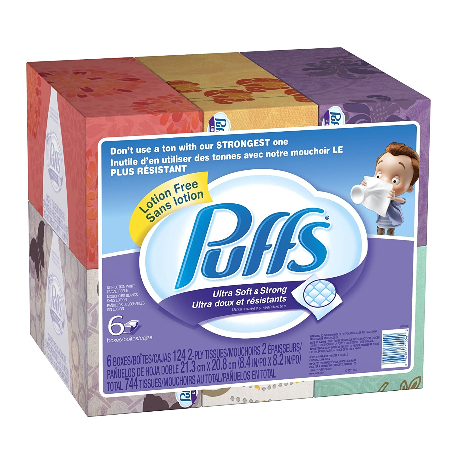 Puffs Ultra Soft and Strong Facial Tissues, 6 Pack of 124-Count Family Boxes (Packaging May Vary) $9.12