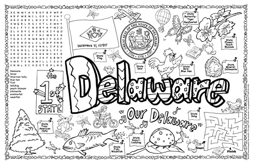 Delaware State Seal Coloring Page Group Delaware Symbols And