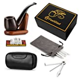 [Update Version]FeelGlad Ebony Smoking Pipe with 10 Filter Element + Scraper + High Grade Pipe Pouches+10 pipe cleaners (style 1) (Color: Black, Tamaño: style 1)