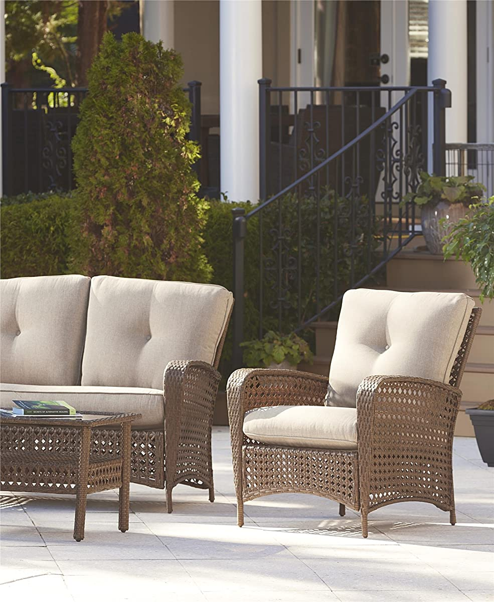 Cosco Outdoor 4 Piece Lakewood Ranch Steel Woven Wicker Patio Furniture Conversation Set with Cushions and Coffee Table, Brown