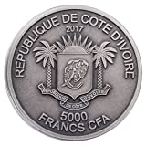 2017 CI Mauquoy Haute Big Five - Elephant UHR 5 oz Silver Antiqued Fr.5,000 Coin GEM BU Capsule with COA 5,000 Franc GEM BU Uncertified
