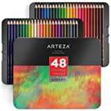 ARTEZA Colored Pencils, Professional Set of 48 Colors, Soft Wax-Based Cores, Ideal for Drawing Art, Sketching, Shading & Coloring, Vibrant Artist Pencils for Beginners & Pro Artists in Tin Box (Color: 48 Colored Professional Pencils, Tamaño: 1 Pack)