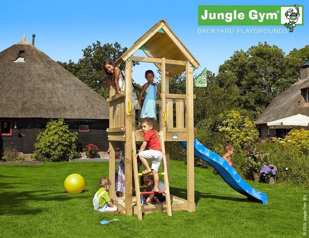Spielturm Jungle Gym Club Set mit 2,4 m Rutsche Sandkasten Kletterturm - Jungle Gym (inkl. Holzpaket), Apfelgrün