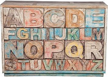 Cajonera alfabeto de madera maciza reciclada acabado antiguo L120x fpr40X H86cm