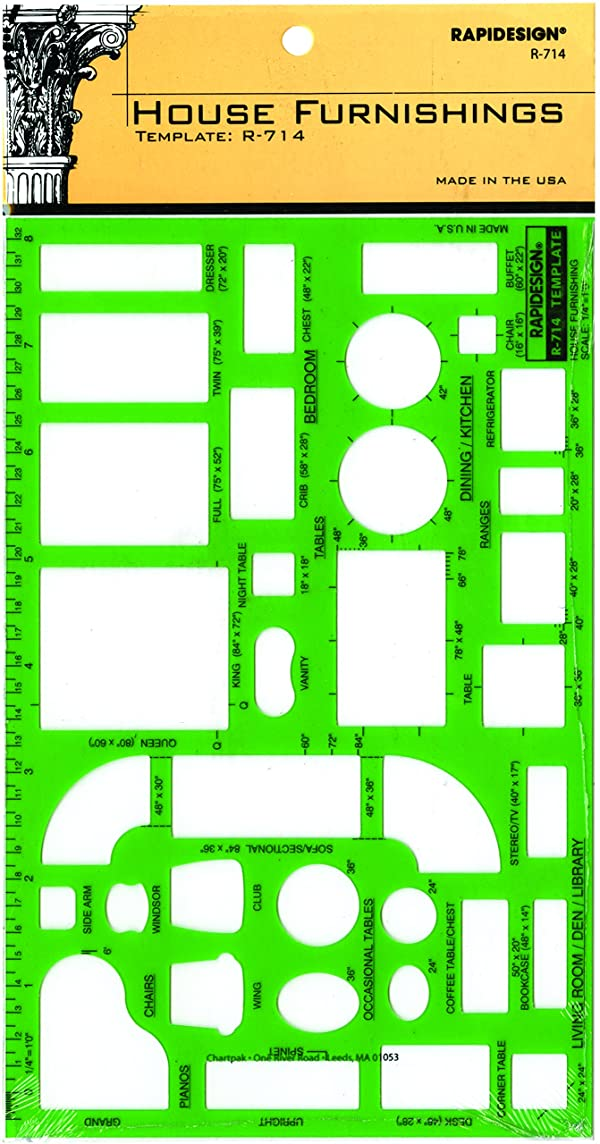 Rapidesign House Furnishings Template, 1/4 Inch = 1 Foot Scale, 1 Each (R714) (Color: Green)
