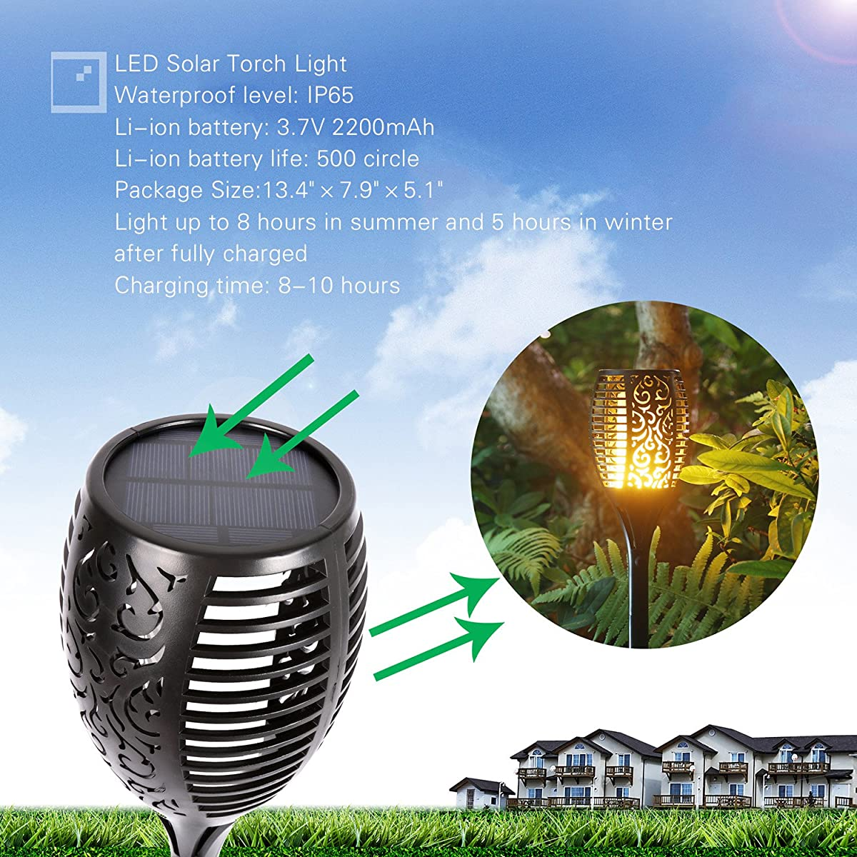 Solar Lights Dancing Flames Balight LED Waterproof Wireless Flickering Torches Lantern Outdoor for Garden Patio Yard Driveway Pathway Pool (Pack of 2)