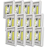 LED Night Light, Kasonic 200 Lumen Cordless COB LED Light Switch, Under Cabinet, Shelf, Closet, Garage, Kitchen, Stairwell and More, Battery Operated (12 PACK) (Color: 12 Pack)