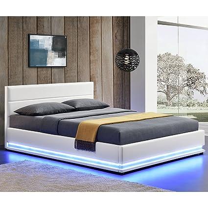 Polsterbett Toulouse 140 x 200 cm mit rundum LED und Bettkasten - weiß