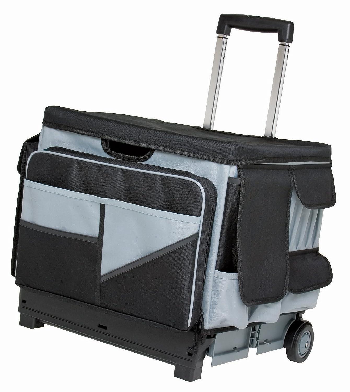 folding rolling cart organizer saddle bag tote mobile tool storage travel office ebay. Black Bedroom Furniture Sets. Home Design Ideas