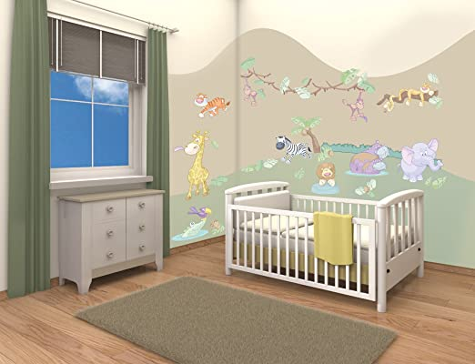walltastic kit de d coration pour chambre de b b th me safari. Black Bedroom Furniture Sets. Home Design Ideas