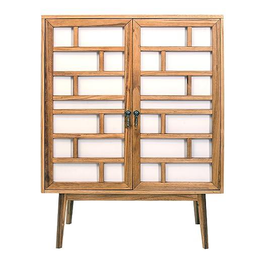 Mobili Rebecca® Sideboard Schrank Wohnzimmer 2 Turen Holz Weiß Braun Modern Einrichtung Haus (Cod. RE4806)