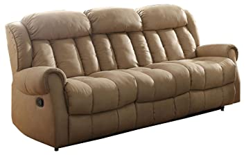 Homelegance Mankato Double Reclining Sofa In Beige Polyester