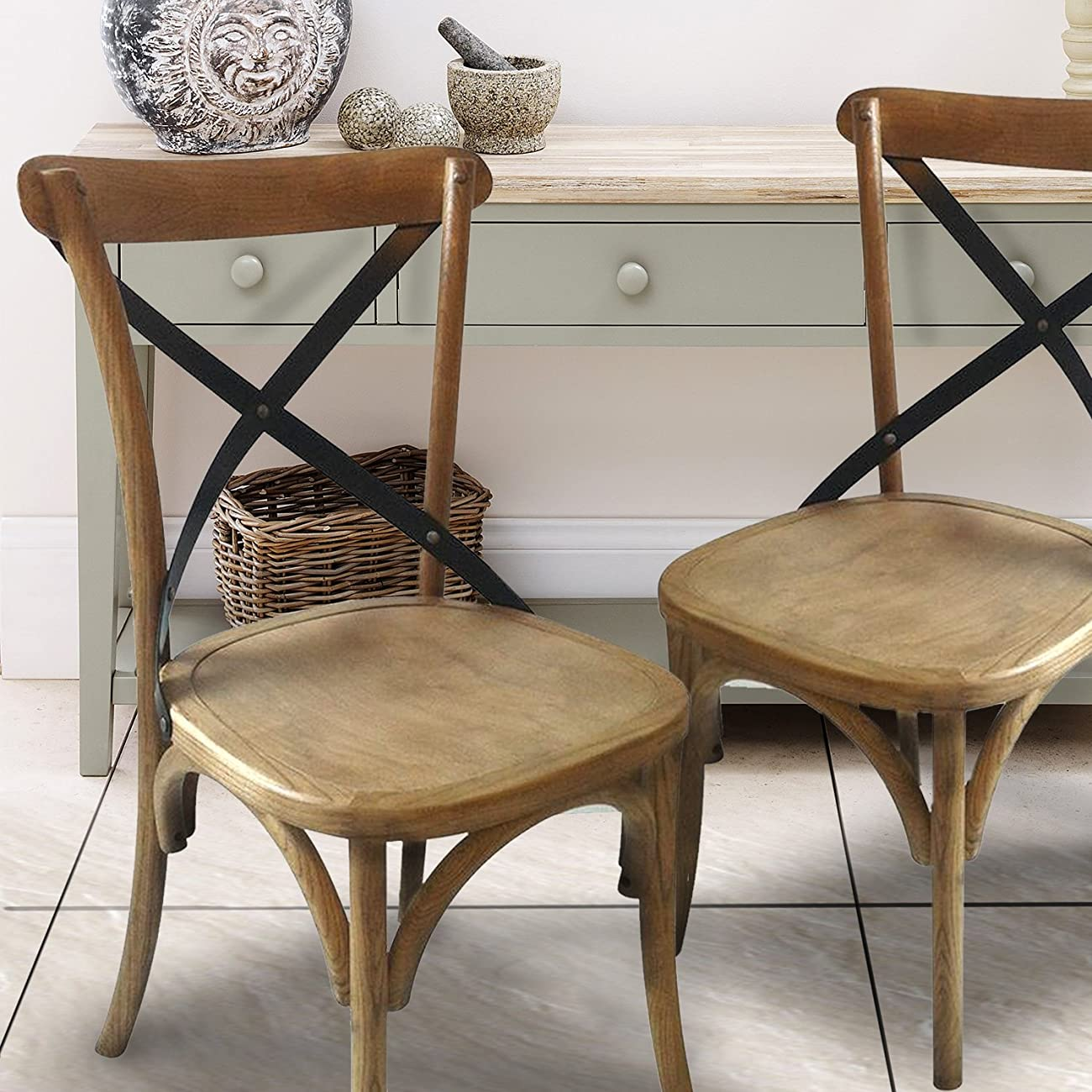 Joveco Vintage style solid wood dining chair - set of 2 1