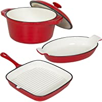 3-Sets Best Choice Products Casserole, Gratin and Griddle Sets Oven (Cast Iron)
