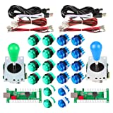 Avsiri 2 Player LED Arcade DIY Parts 2X USB Encoder + 2X Ellipse Oval Style Joystick + 20x LED Arcade Buttons for PC MAME Raspberry Pi Windows (Green & Blue Kit) (Color: Green & Blue Kit)