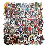 Homyu Stickers Old School Tattoo 50 Pcs PVC Decals Waterproof Sunlight-Proof DIY Ideals for Cars Motorbikes Skateboard Spinner Luggages Laptops (Color: Old School Tattoo)