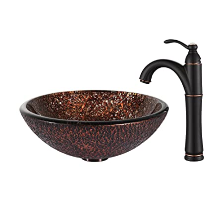Kraus C-GV-571-19mm-1005ORB Venus Glass Vessel Sink and Riviera Faucet Oil Rubbed Bronze