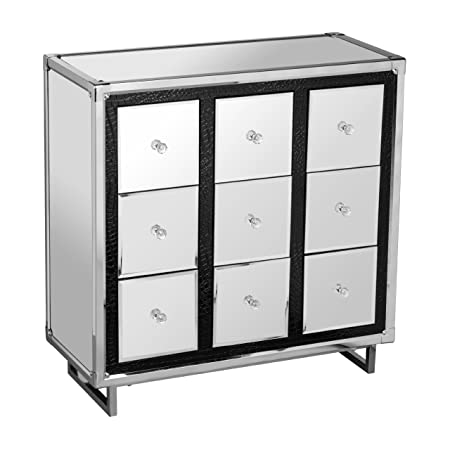 Premier Housewares 9-Drawer Mirrored Cabinet with Crocodile Effect Detail Stainless Steel