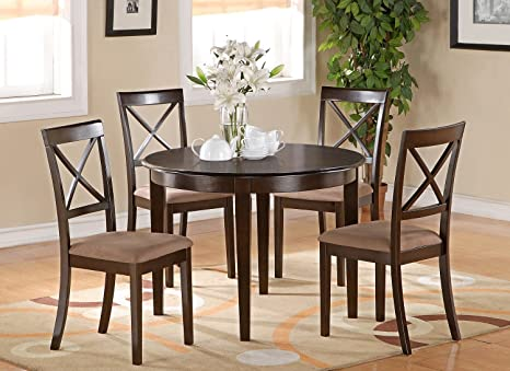 East West Furniture BOST3-CAP-C 3-Piece Kitchen Table Set, Small, Cappuccino Finish