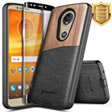 Moto E5 Plus Case, Moto E5 Supra Case w/[Full Cover Tempered Glass Screen Protector], NageBee Premium Natural Wood Canvas Fabrics Shockproof Hybrid Rugged Case Motorola Moto E Plus 5th Gen -Wood (Color: Wood)